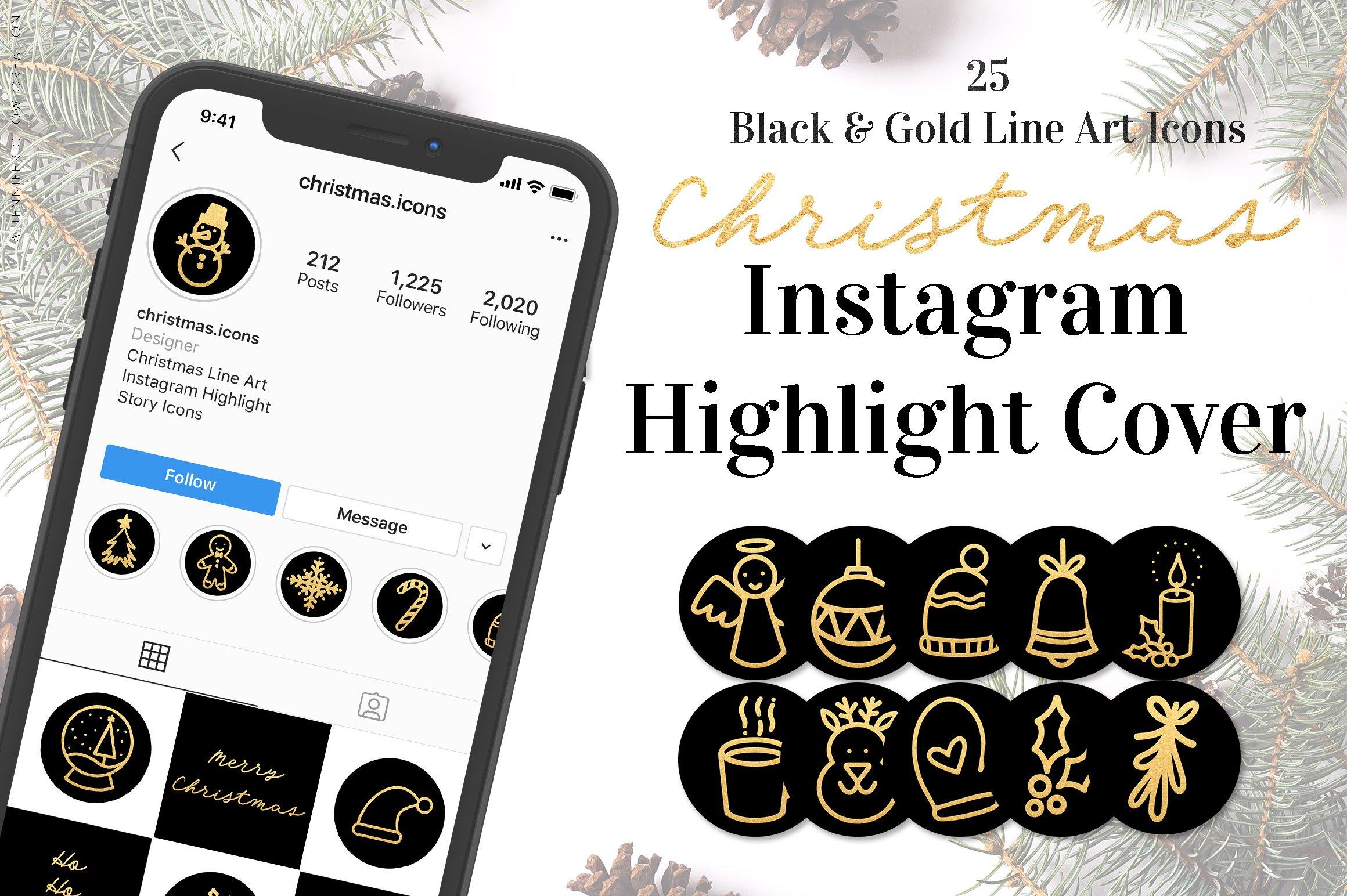 Christmas Black Gold Instagram Highlight Cover Icons 1027033 Icons Design Bundles
