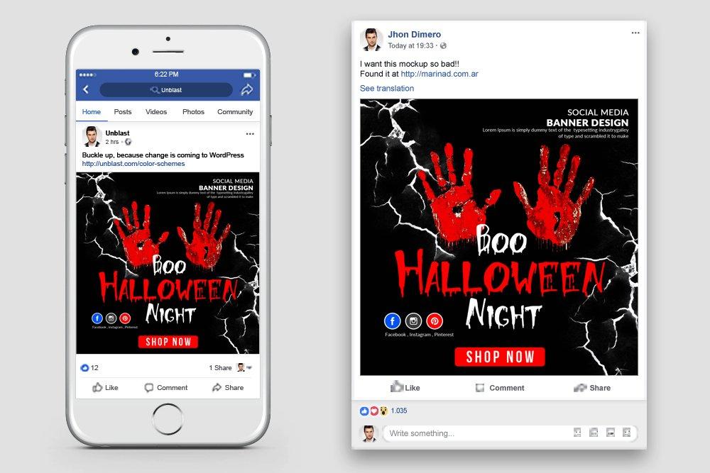 Halloween Night Facebook Post Banner example image 2