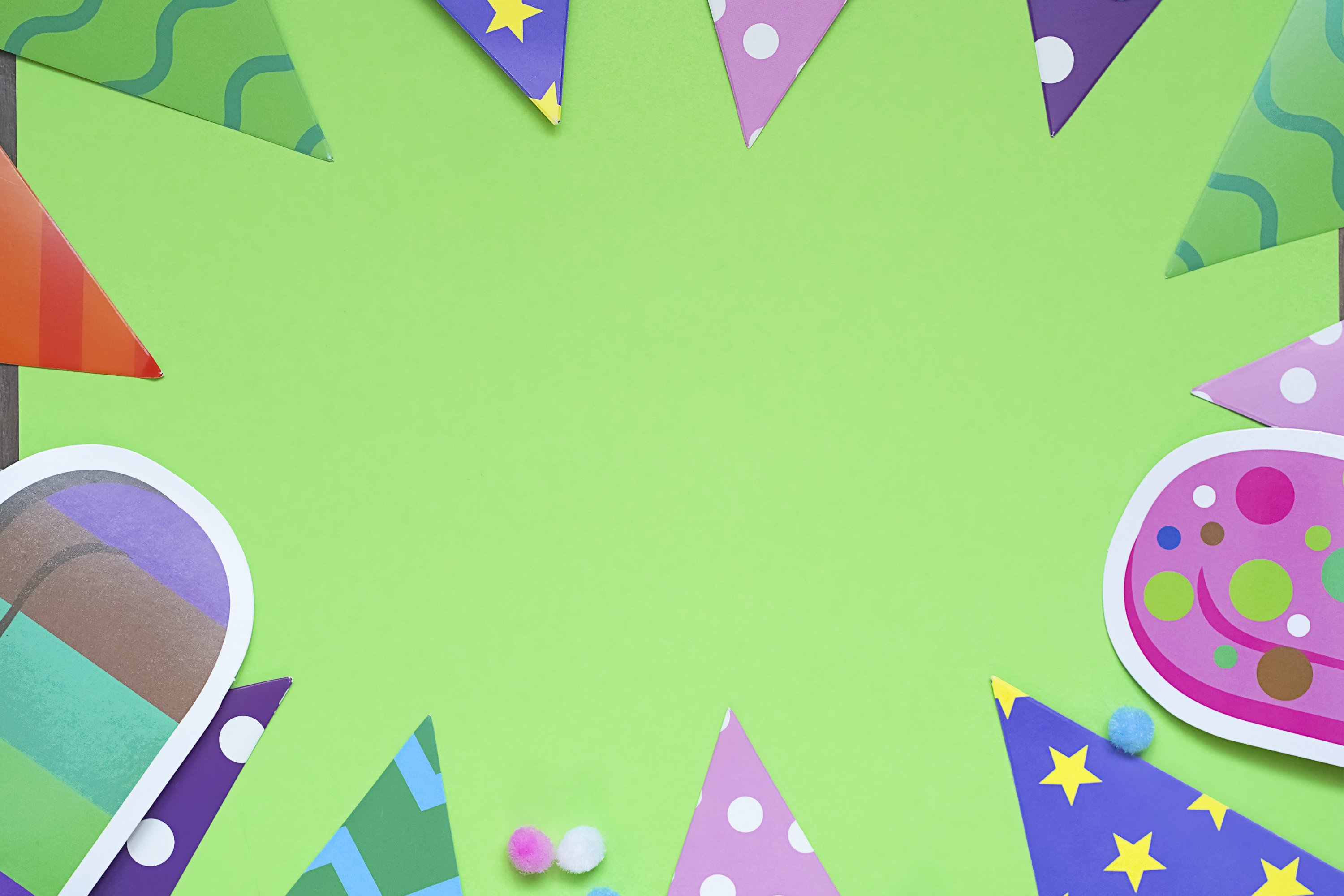 Colorful party frame with birthday objets on Green example image 1