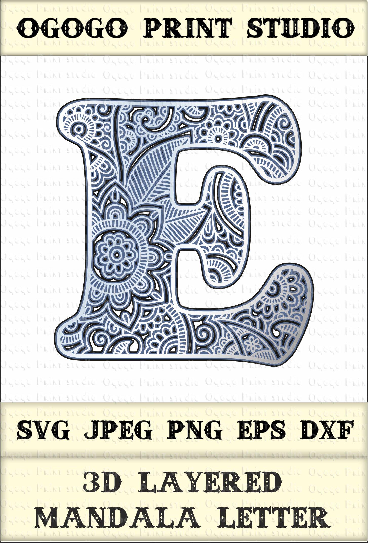 Download 3D Letter Layered Mandala SVG, Zentangle SVG, Monogram Svg ...