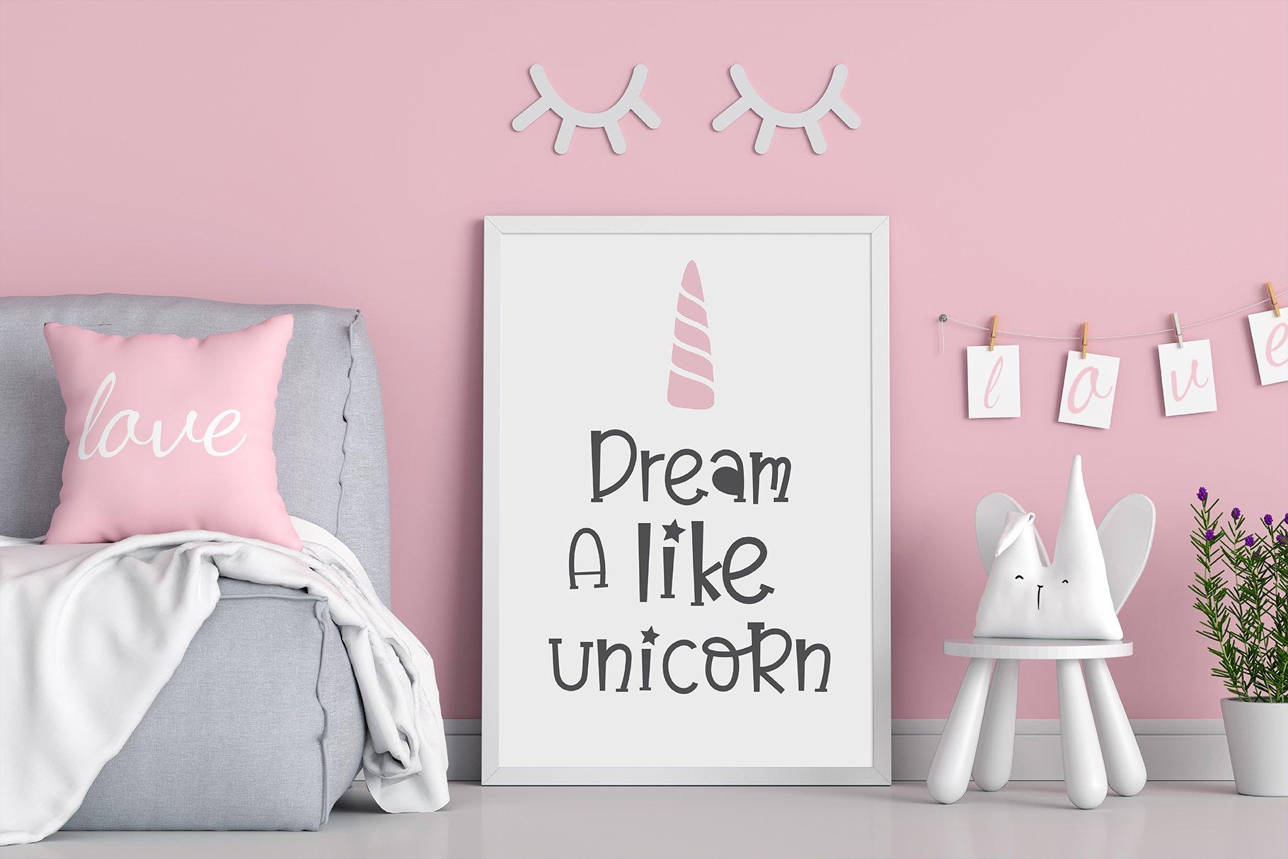 Believe in unicorn Handwriting- cute kid font Kawaii style! example image 5