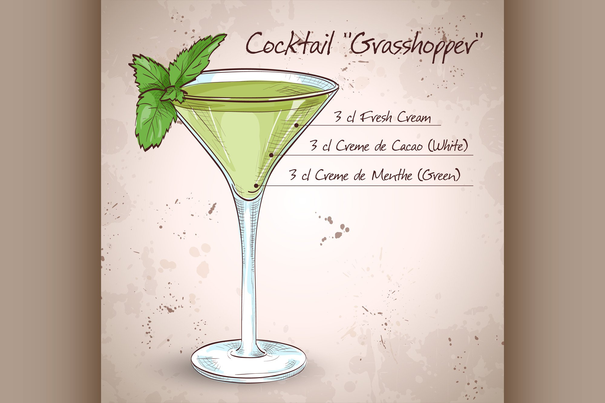 Grasshopper alcoholic cocktail example image 1