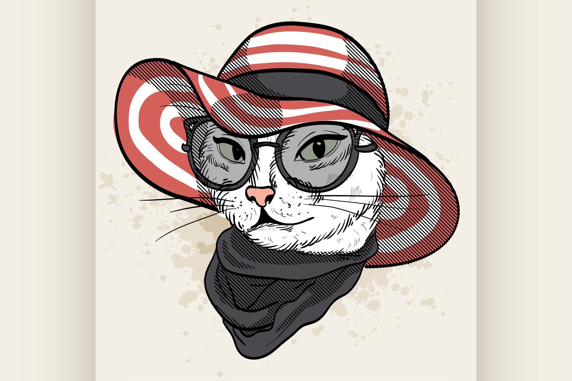 Vector color set of elegant cat woman face example image 1
