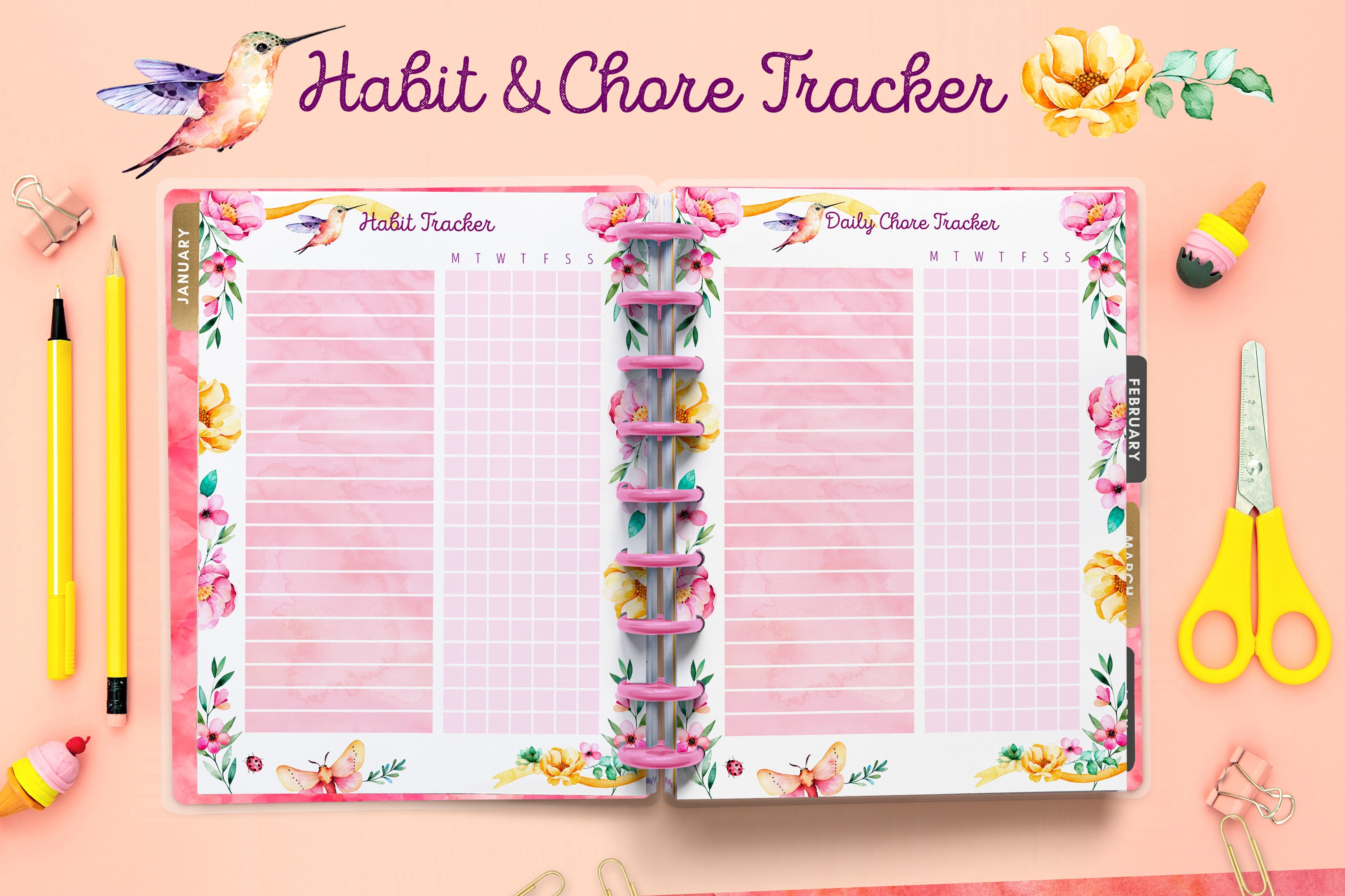 PLANNER printables- hummingbird collection - 17 pdf example image 8
