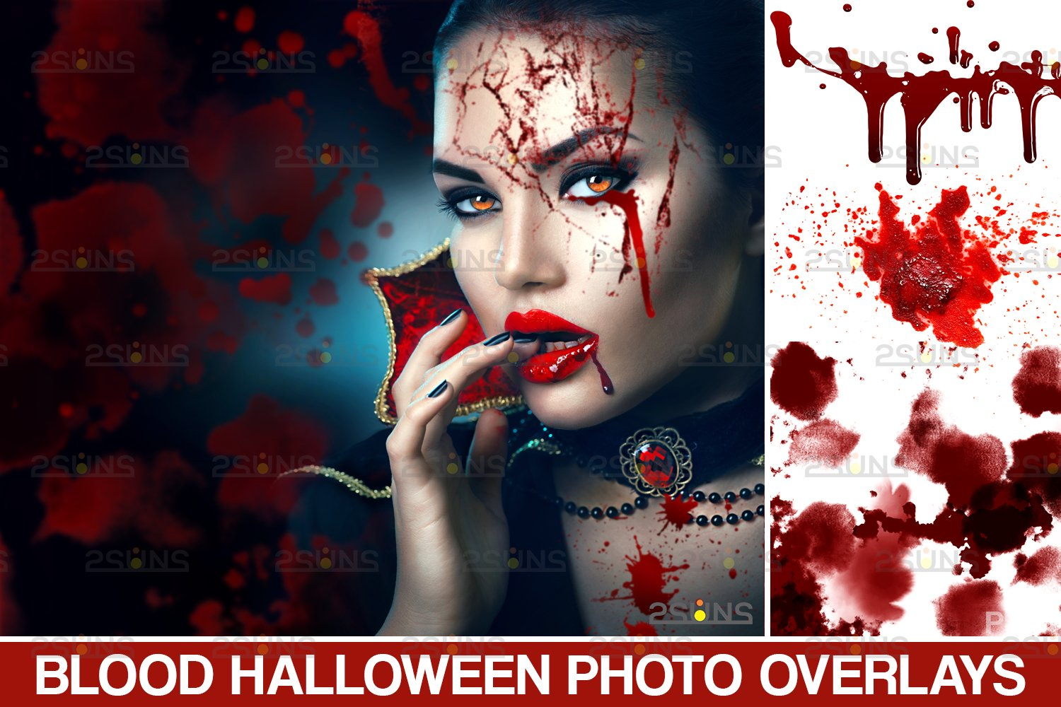 Blood Photo Overlay, Halloween overlay, blood splatter example image 1