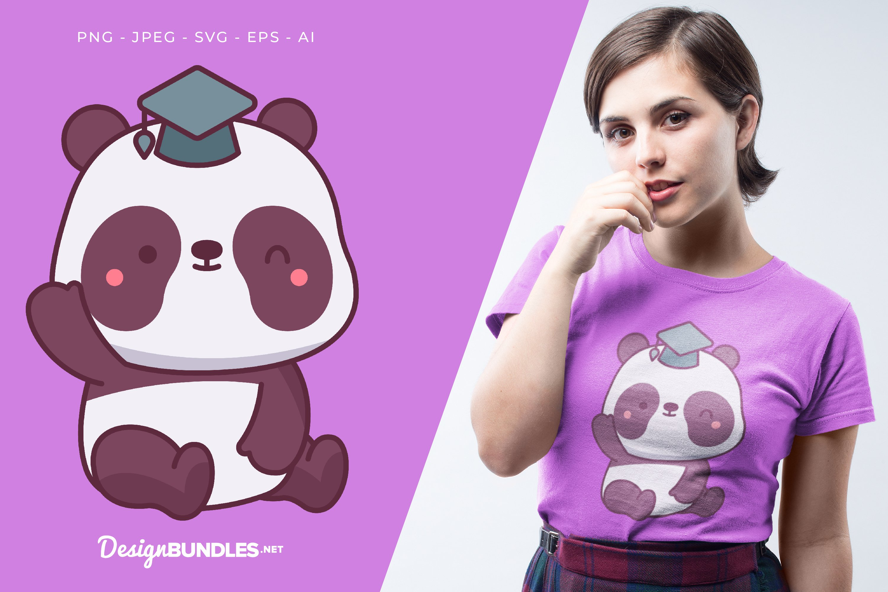 Cute Panda Vector Illustration For T-Shirt Design example image 1