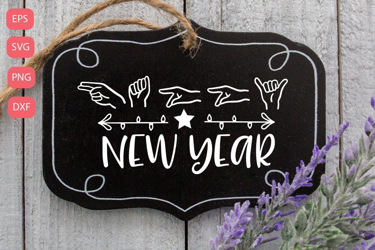 Happy new year, sign language SVG example image 1