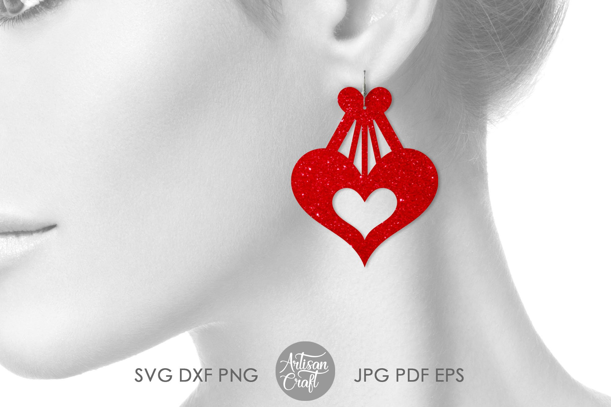 Heart earrings, SVG cutting files, faux leather earrings example image 3