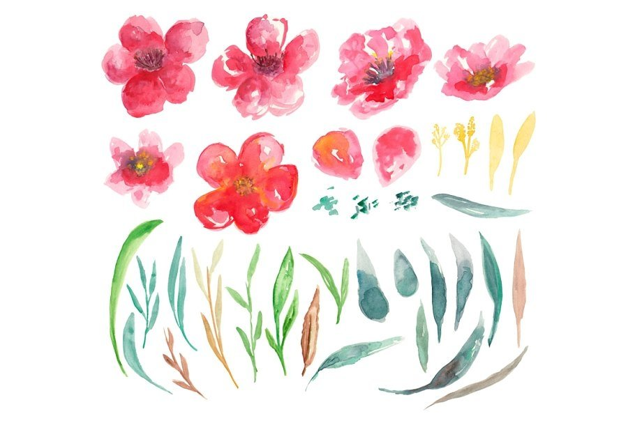 Emily Watercolors Flowers example image 2
