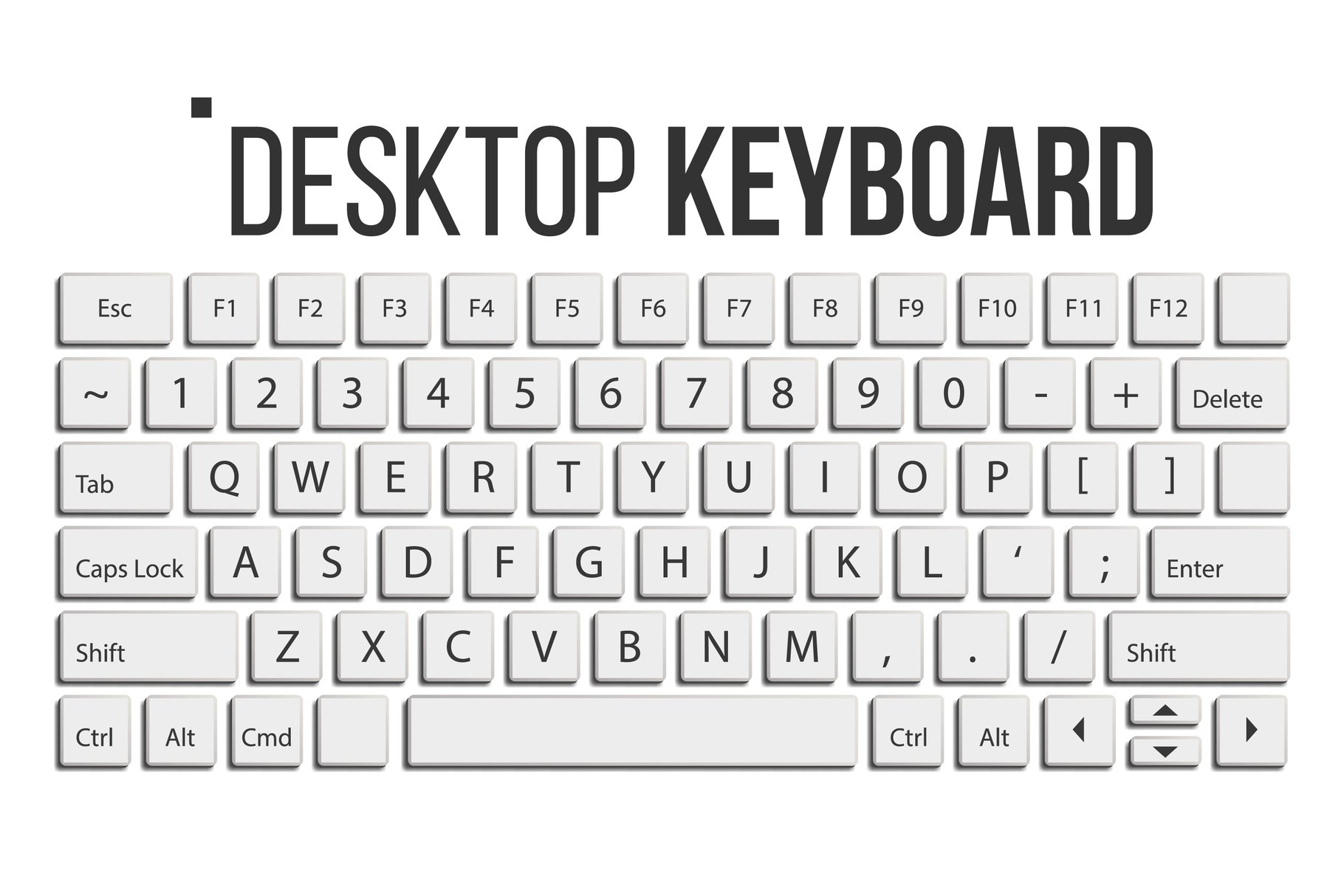 Keyboard Isolated Vector. Layout Template. Classic Keyboard. example image 1