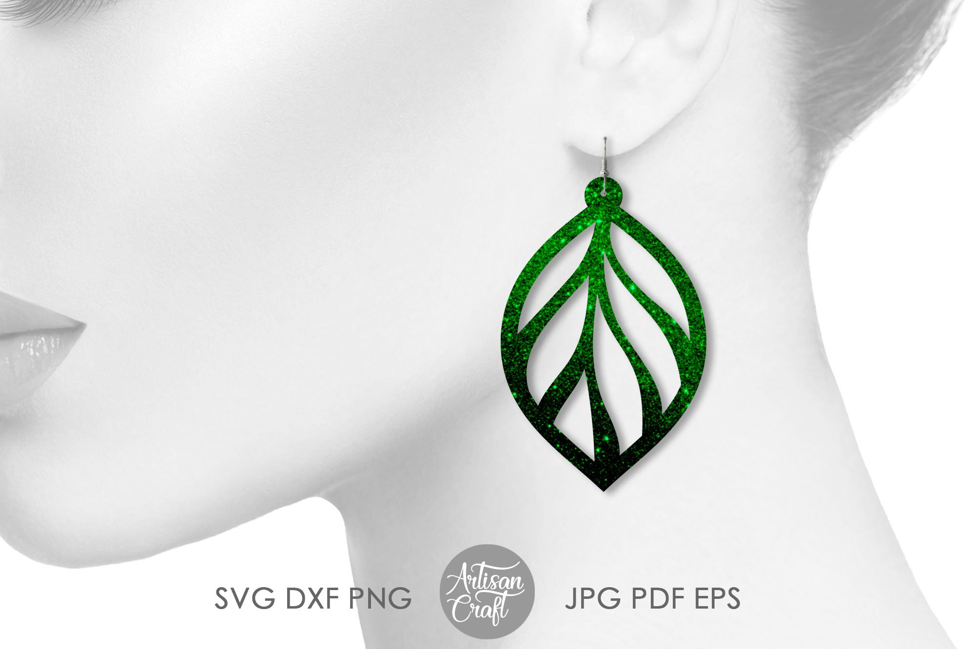 Leaf earring svg, faux leather earrings template example image 5
