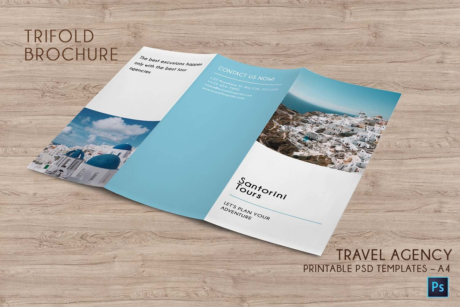 Trifold Agency Travel Brochure Editable PSD Templates example image 4