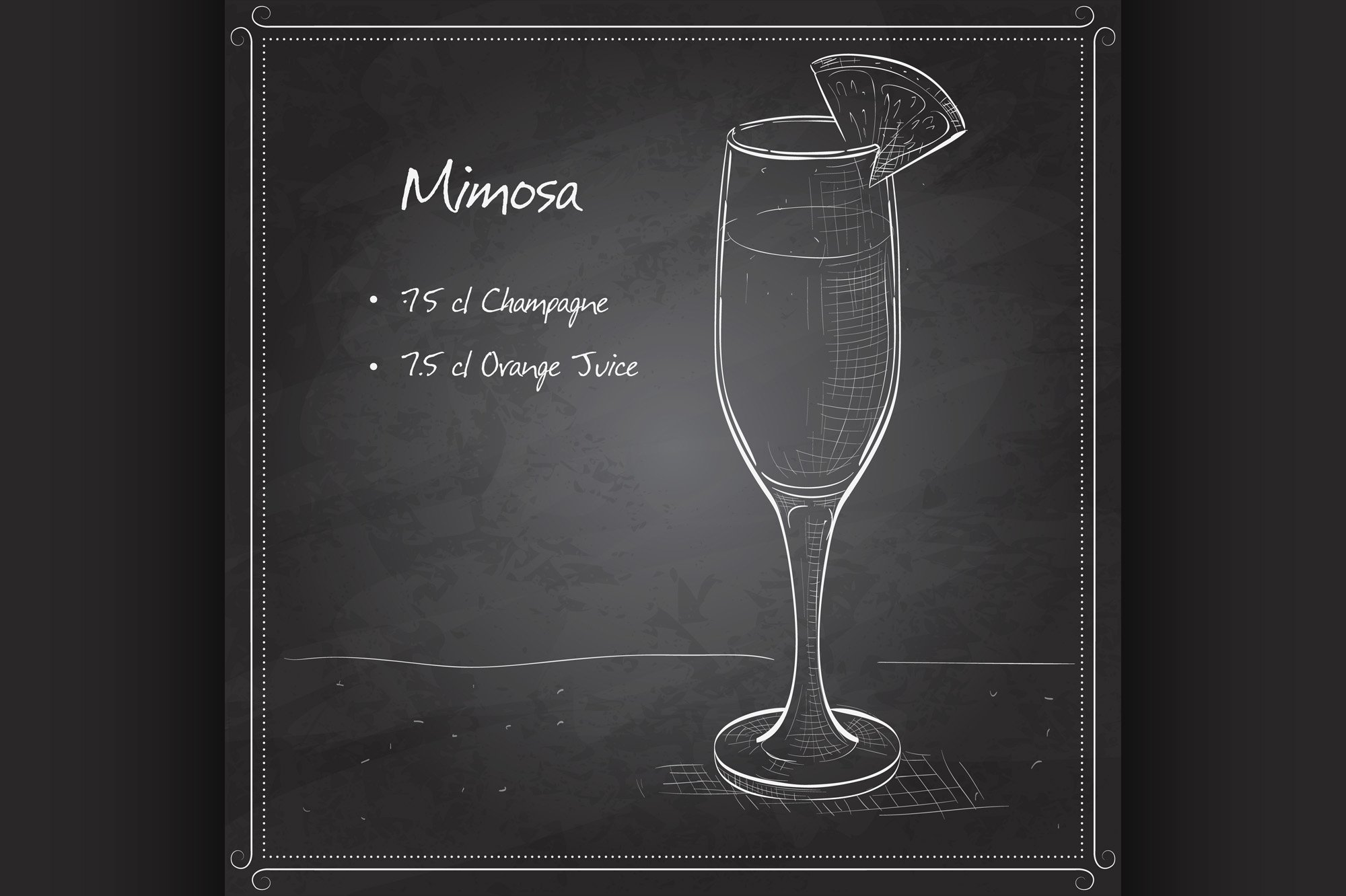 Cocktail alcohol Mimosa on black board example image 1