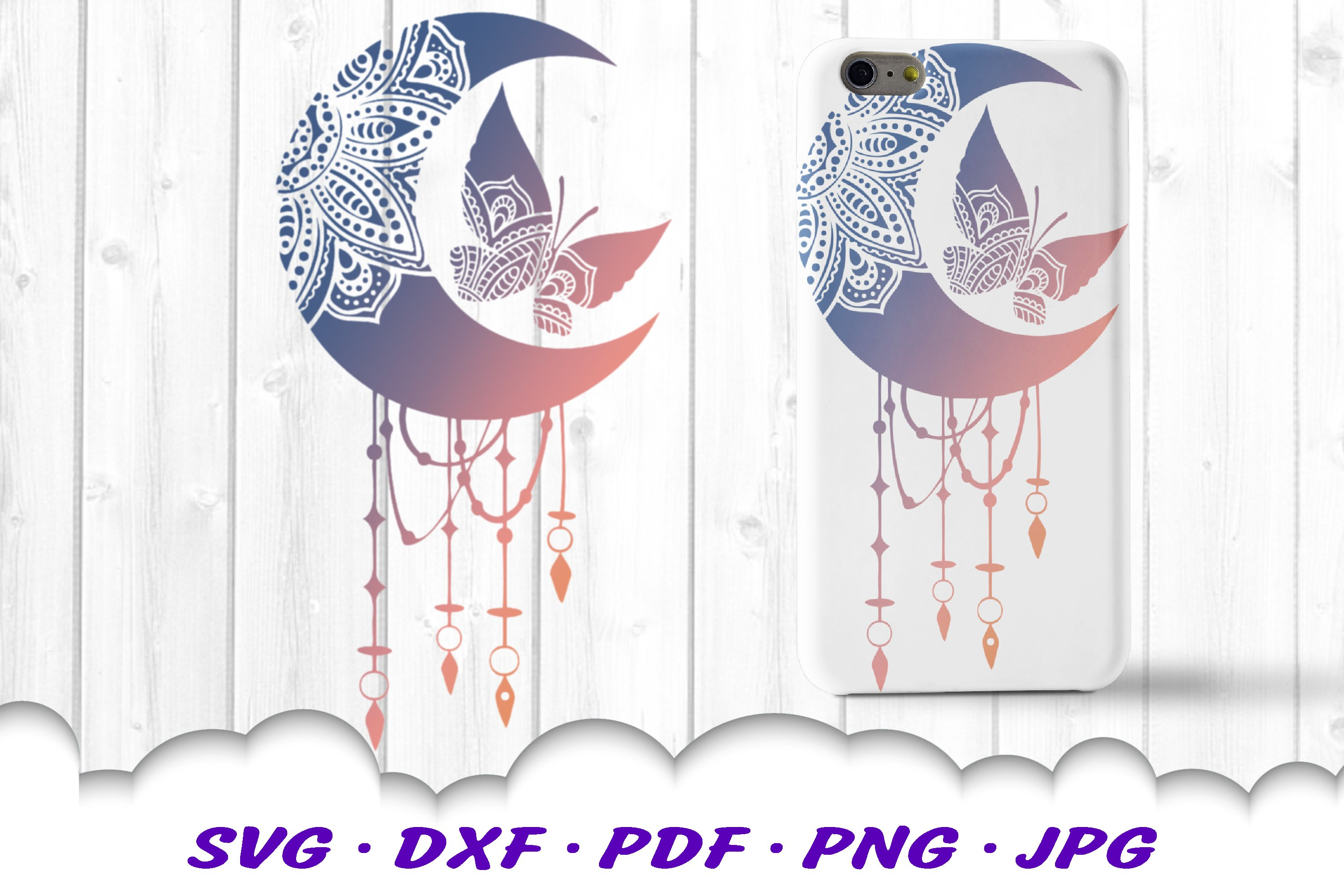 Celestial Mandala Butterfly Dream Catcher SVG DXF Cut Files example image 2