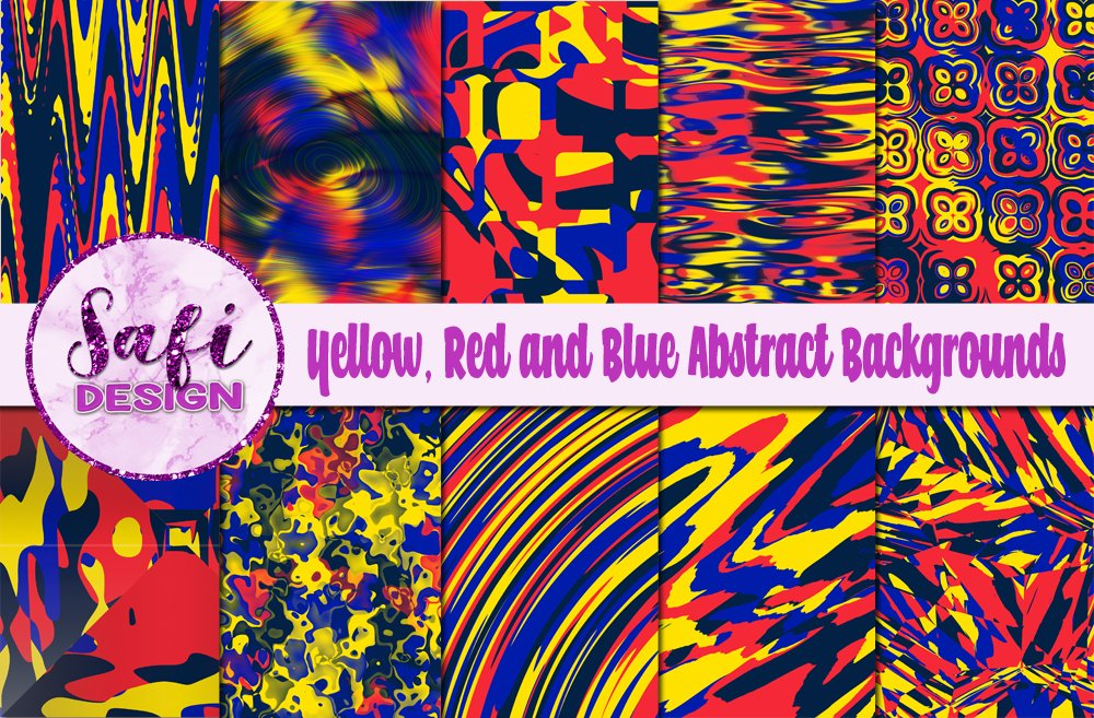 Yellow, Red and Blue Abstract Backgrounds example image 1