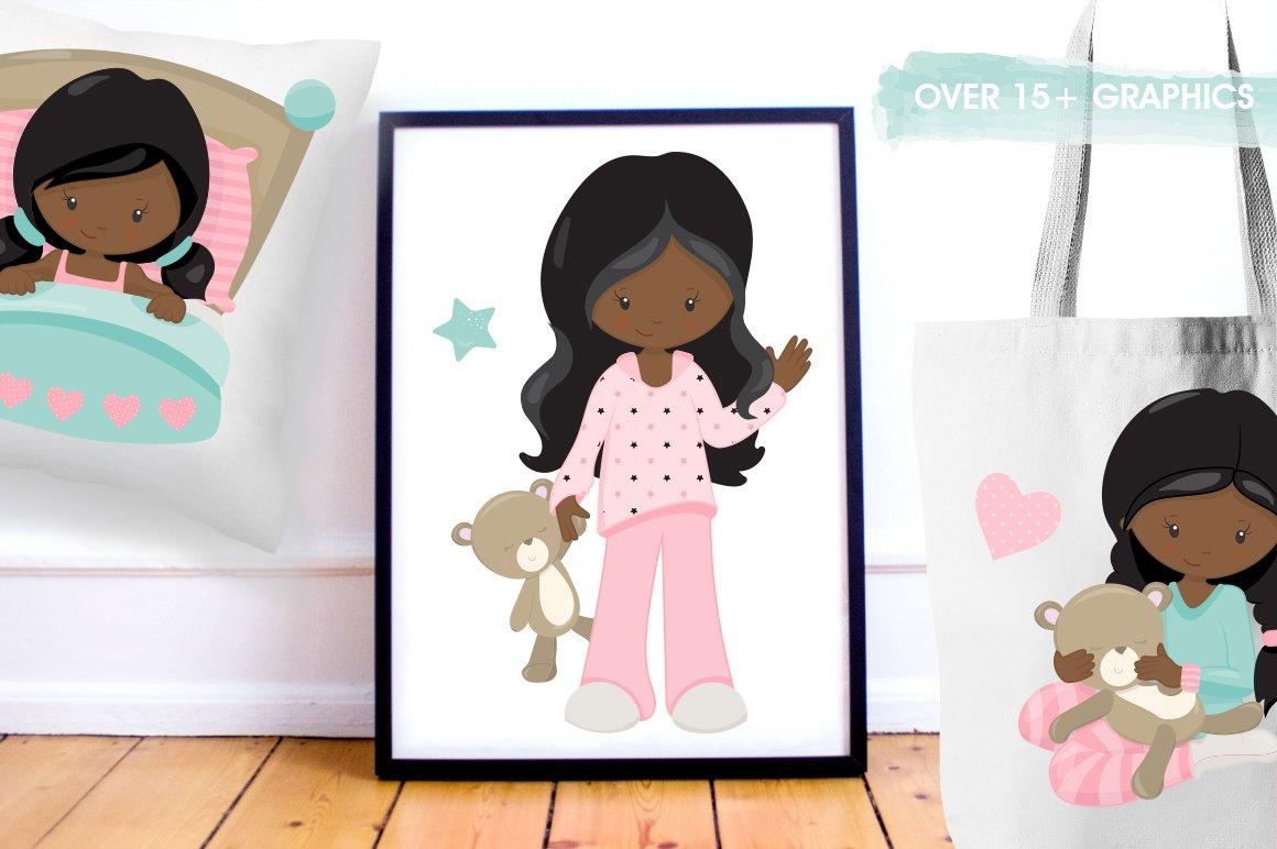 African American Kids bedtime graphics - vectors example image 3