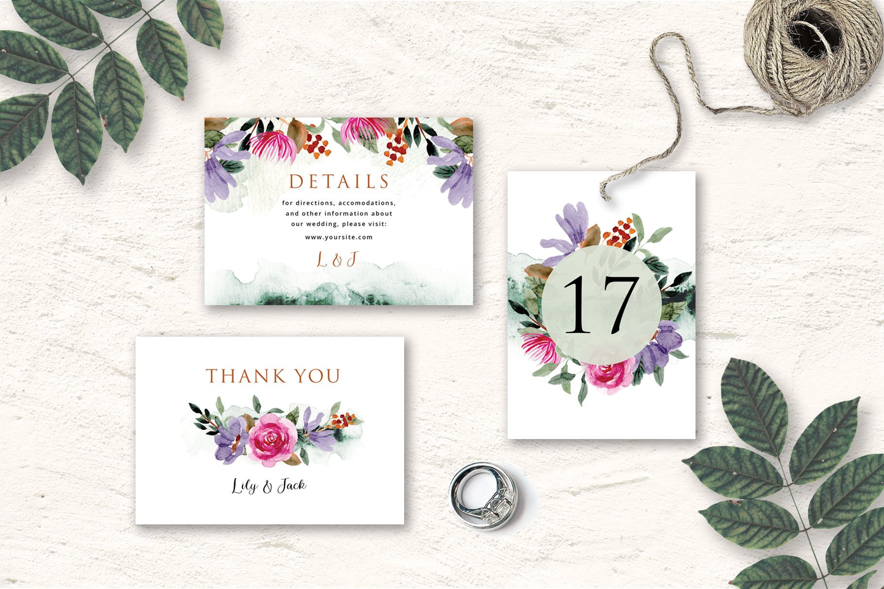 Rustic Floral Wedding Invitation Set example image 2