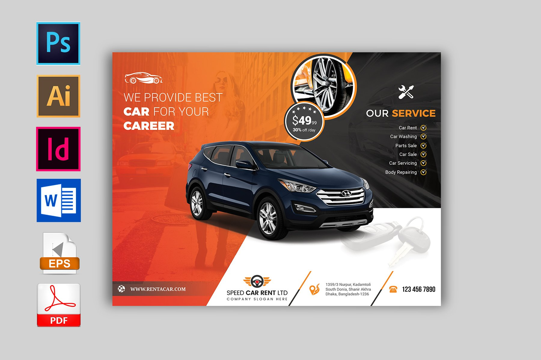Rent A Car Flyer Template Vol 02 416028 Flyers Design Bundles