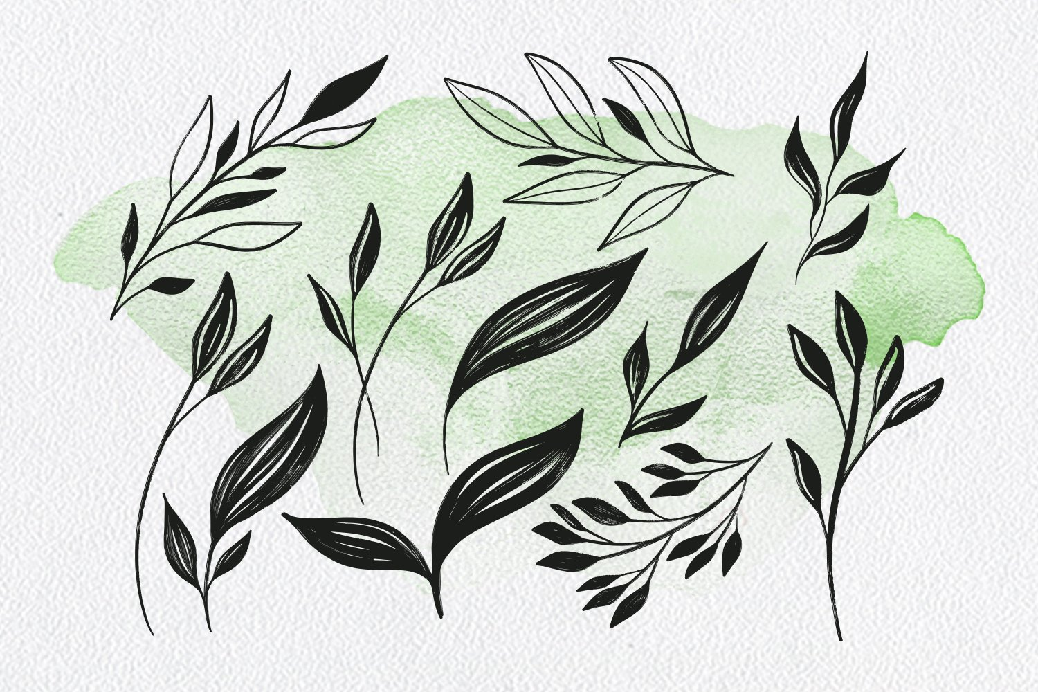 Oh My Plants Textured Font & Doodles example image 7