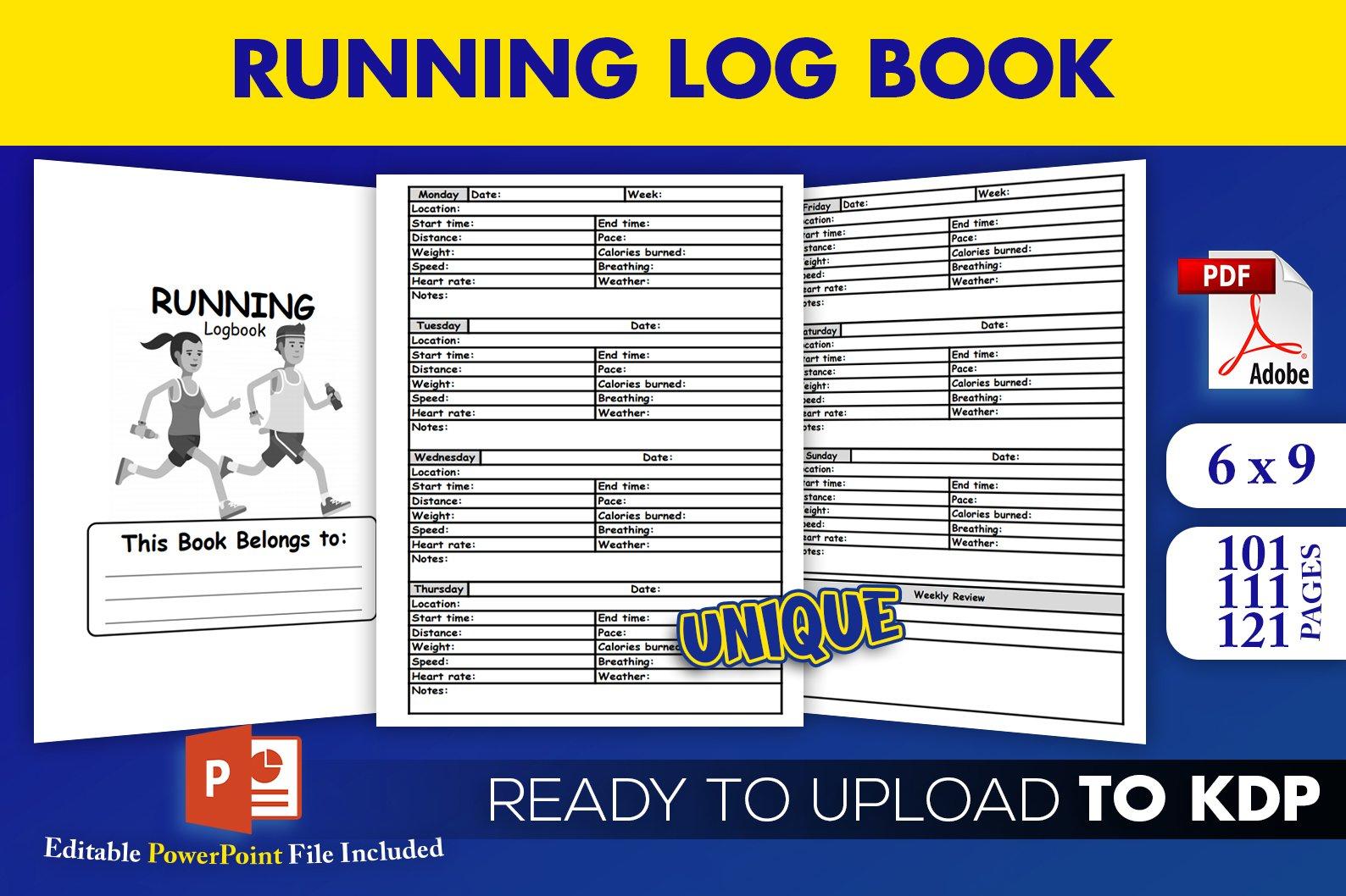 Running Log Book Jogging Tracker| KDP Interior example image 1