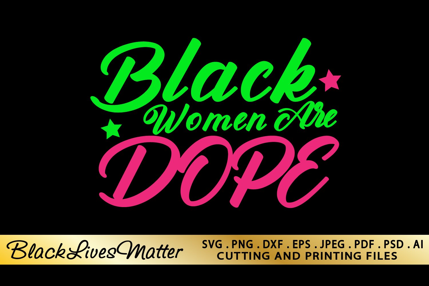 Black Woman SVG PNG EPS DXF Files For Cutting and Printing example image 1