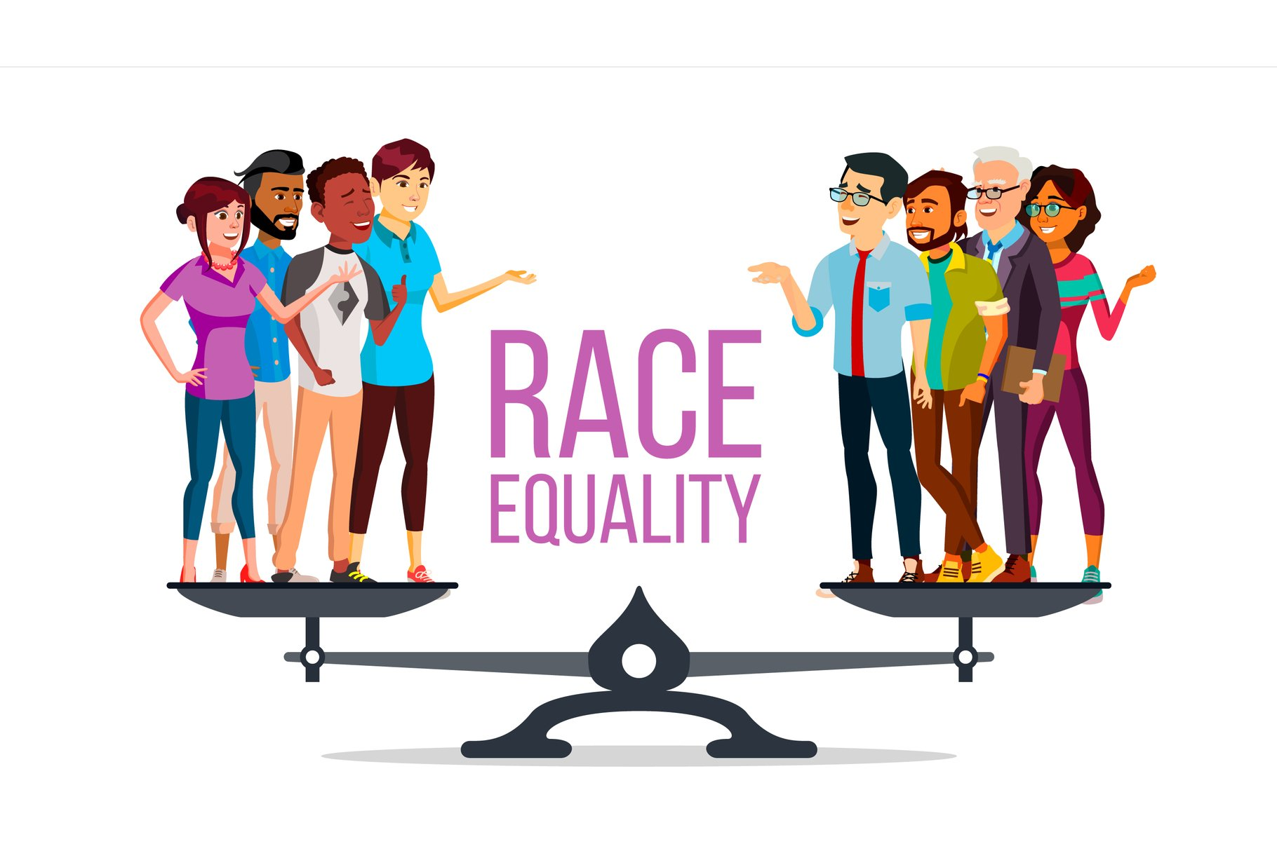 Race Equality Vector. Standing On Scales. Equal Opportunity. example image 1