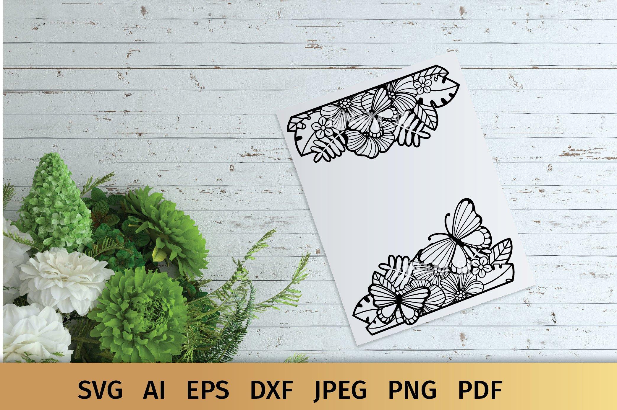 Split Monogram SVG | Floral SVG | Butterfly SVG | Summer SVG example image 5