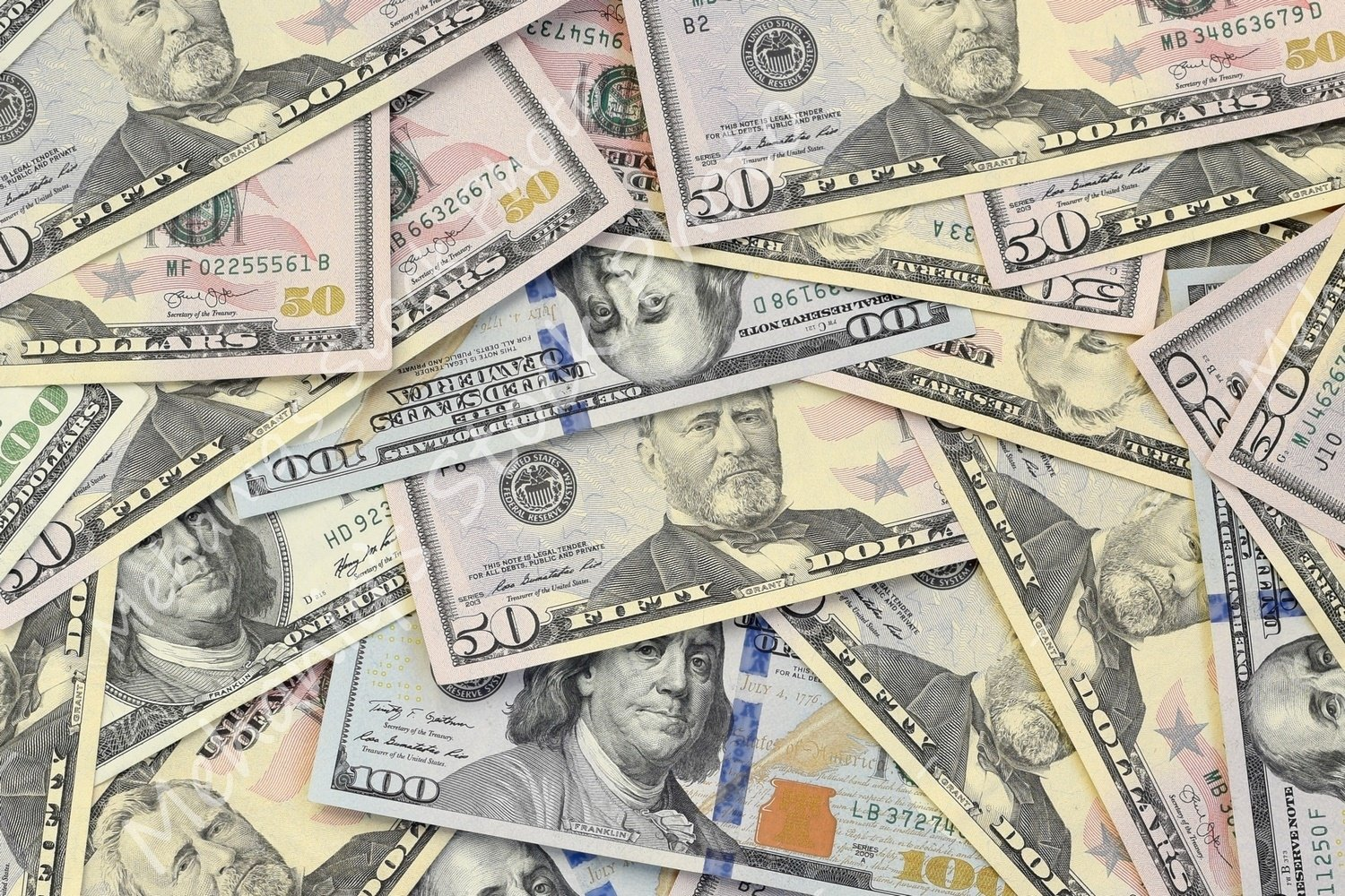 Many american dollar bills close up example image 1