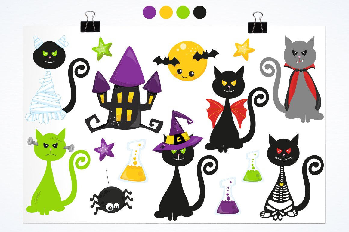 Halloween Cats Graphics and illustrations, vecto example image 3