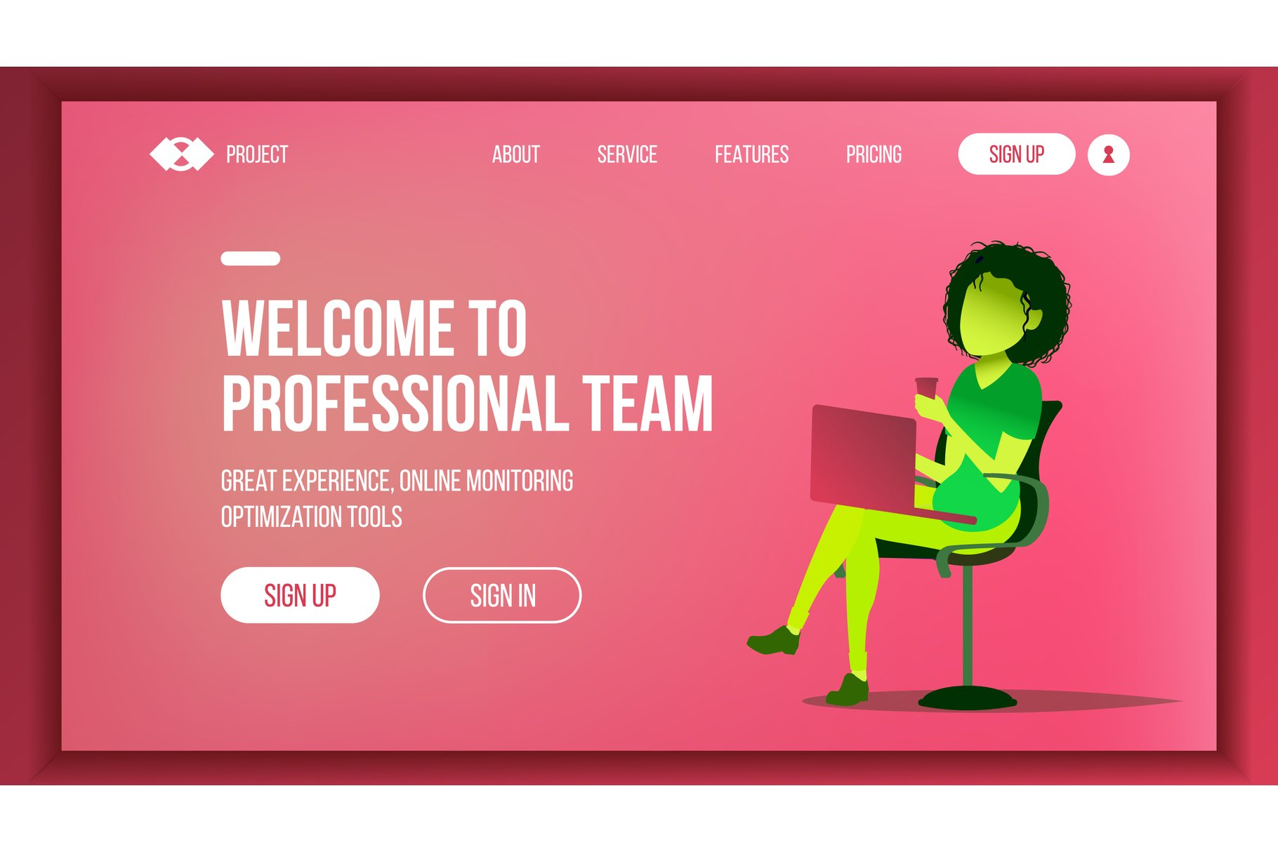 Landing Web Page Design Vector. Website Business Concept. example image 1