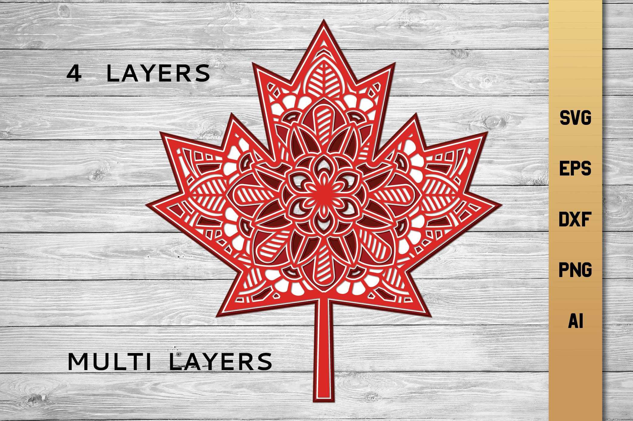 Download 3d Layered Maple Leaf | Multi Layer SVG |Cut File (658316 ...