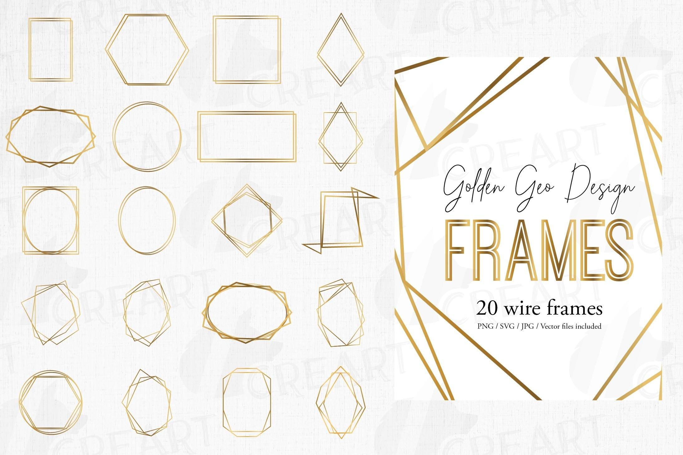 Download Golden Geometric Frames Clip Art Wedding Invite Geo Borders 460683 Illustrations Design Bundles
