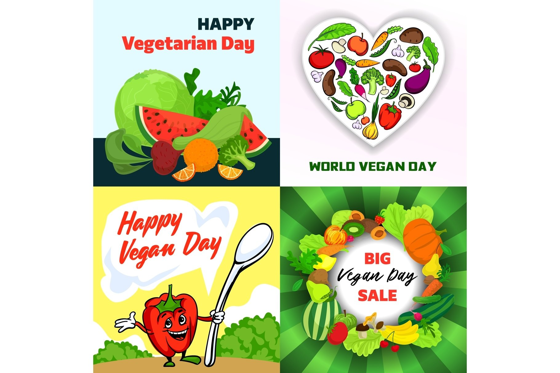 Vegan Day Banner Set Cartoon Style 550462 Illustrations Design Bundles