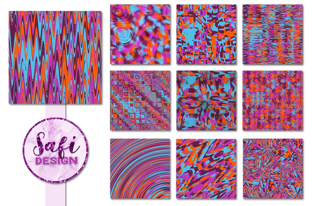 Purple, Orange and BlueAbstract Backgrounds example image 2