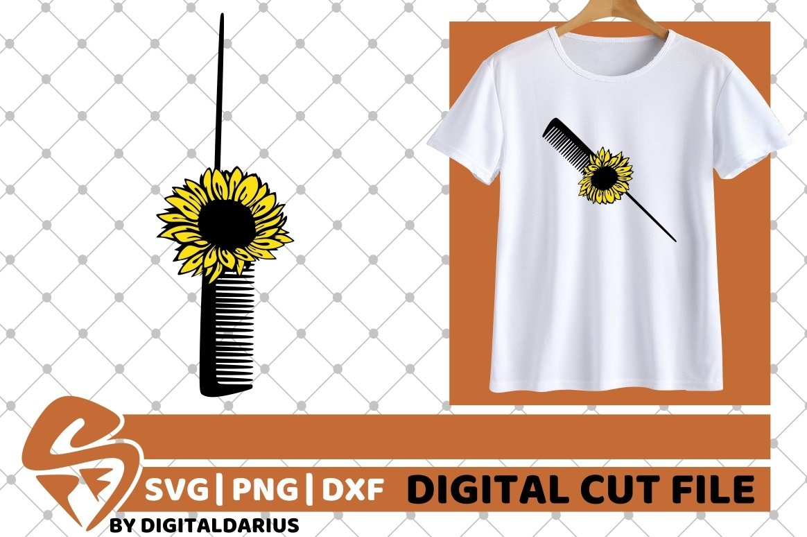Hair Comb with Sunflower svg, Hair Stylist svg, Hairdresser example image 2