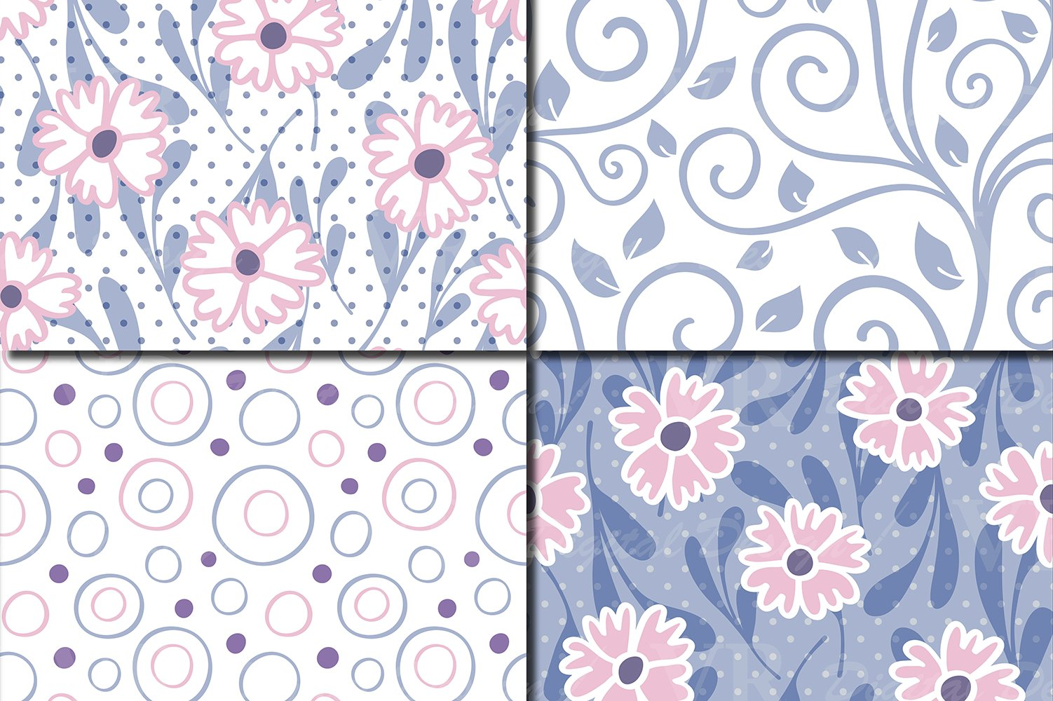 Floral swirls blue, pink, purple seamless digital paper example image 2