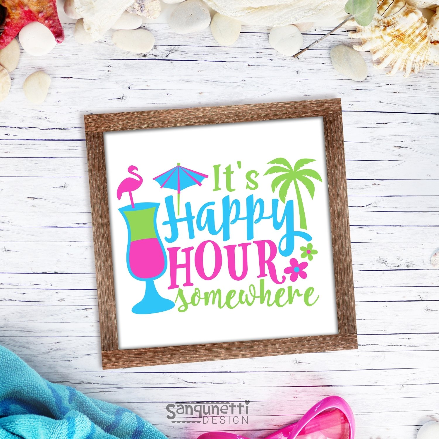 It's happy hour somewhere SVG, summer cocktail cutting file example image 2