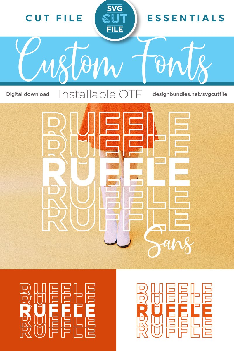 Ruffle Sans Mirror font with stacked letters - an OTF file example image 4