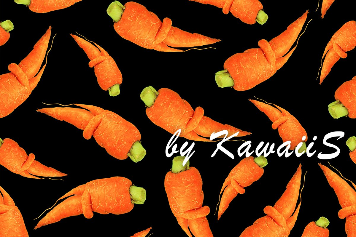 Funny deformed carrots seamless pattern on black background example image 1