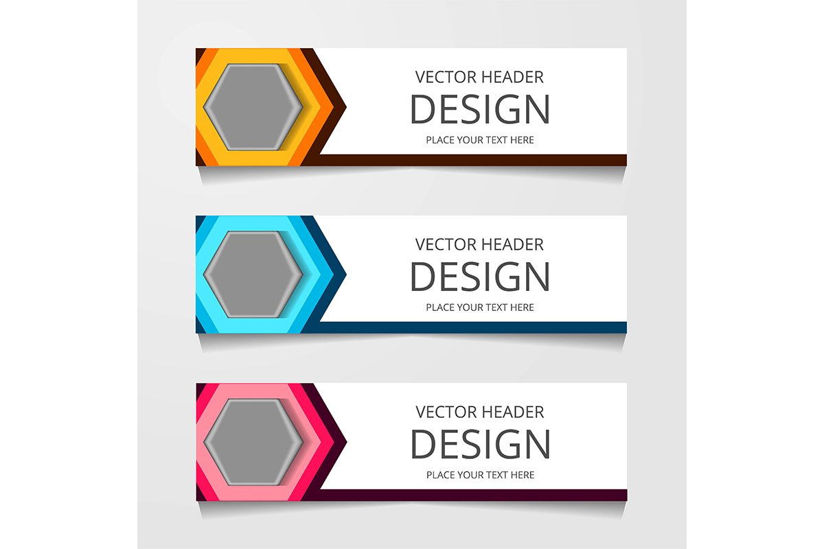 Abstract design banner, web template with three different co example image 1
