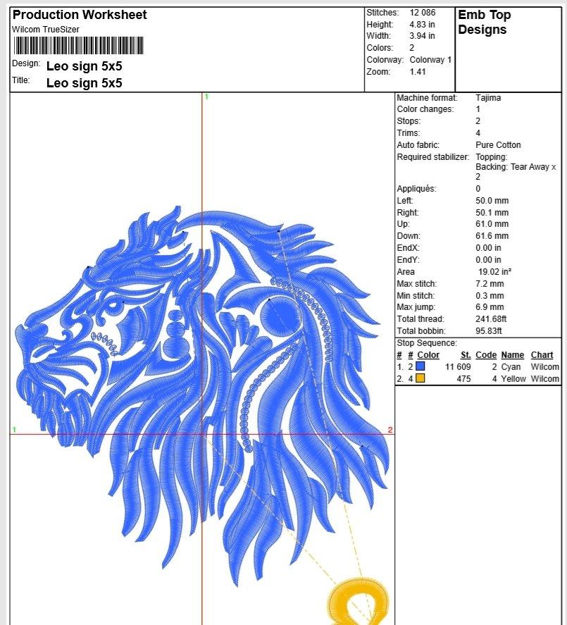 Leo Zodiac Sign - machine embroidery design, satin stitch example image 4
