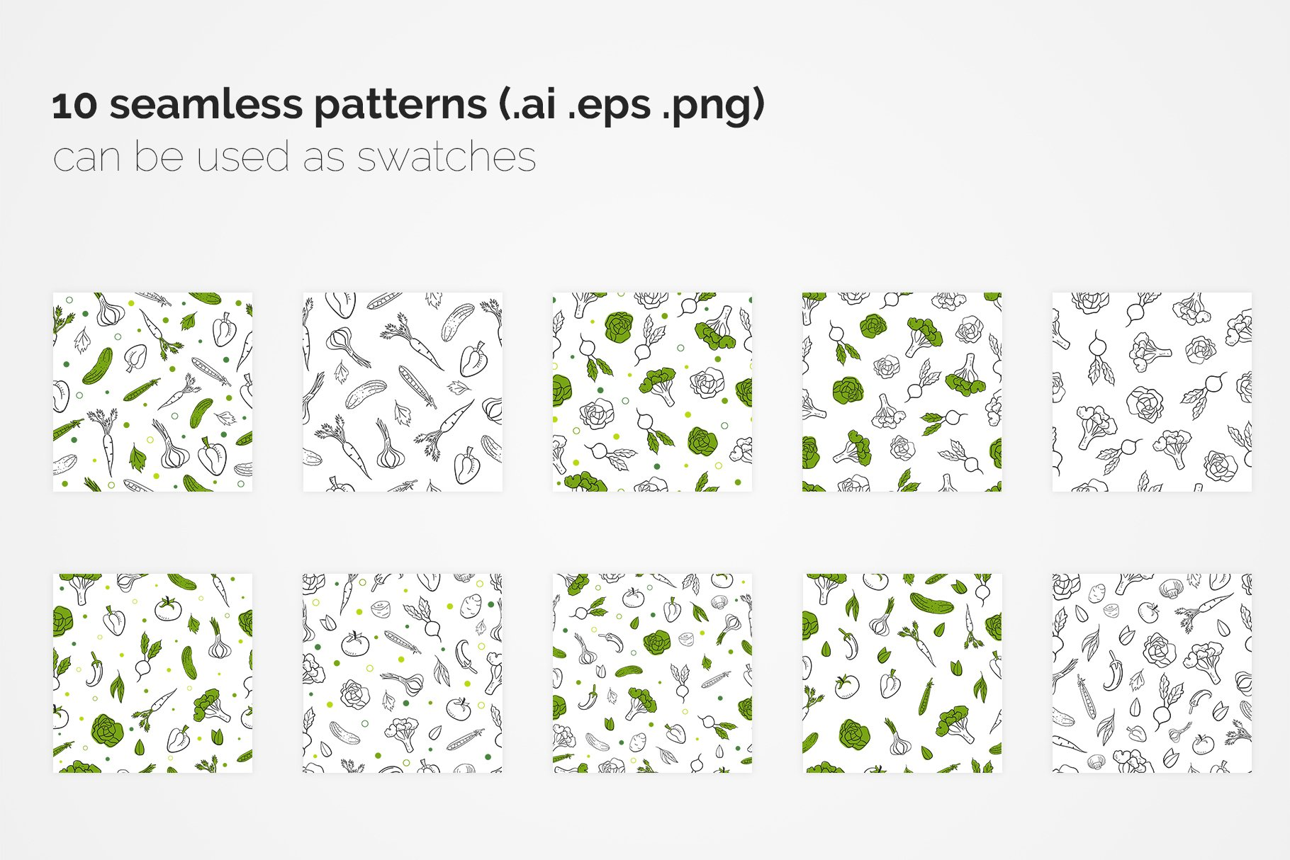 Vegetables Seamless Patterns example image 3