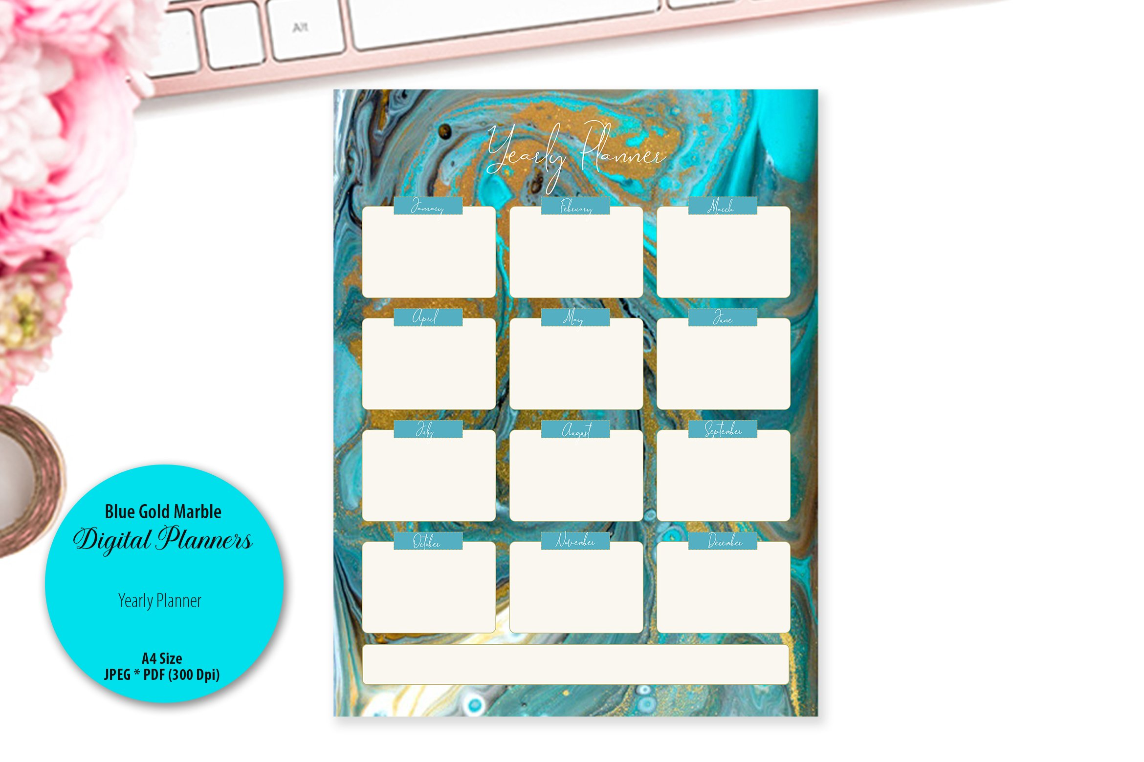 Blue Gold Marble Digital Planner example image 5