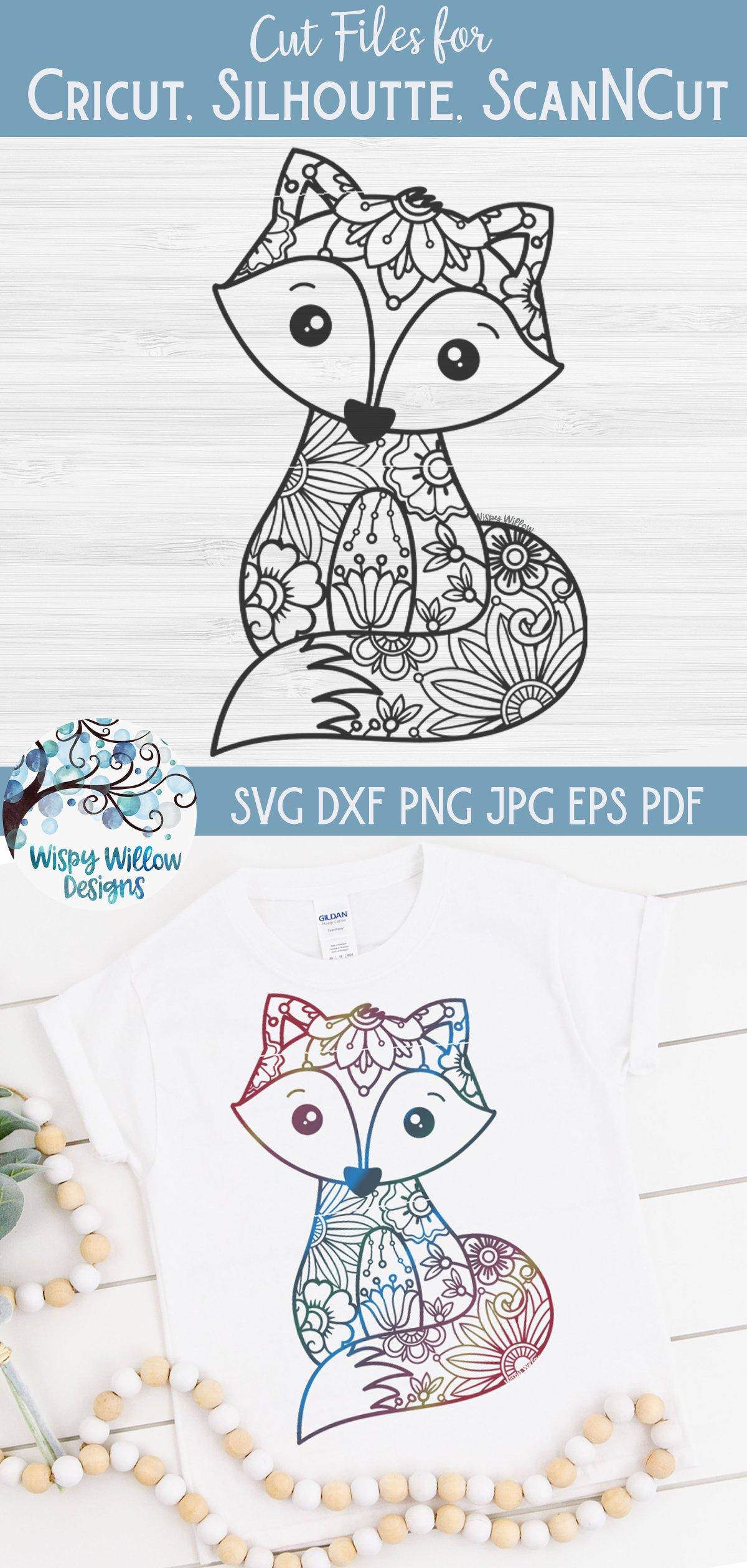 Floral Fox SVG | Fox Mandala SVG Cut File example image 3