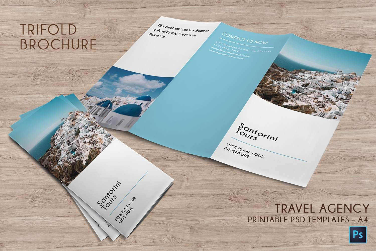 Trifold Agency Travel Brochure Editable PSD Templates example image 3