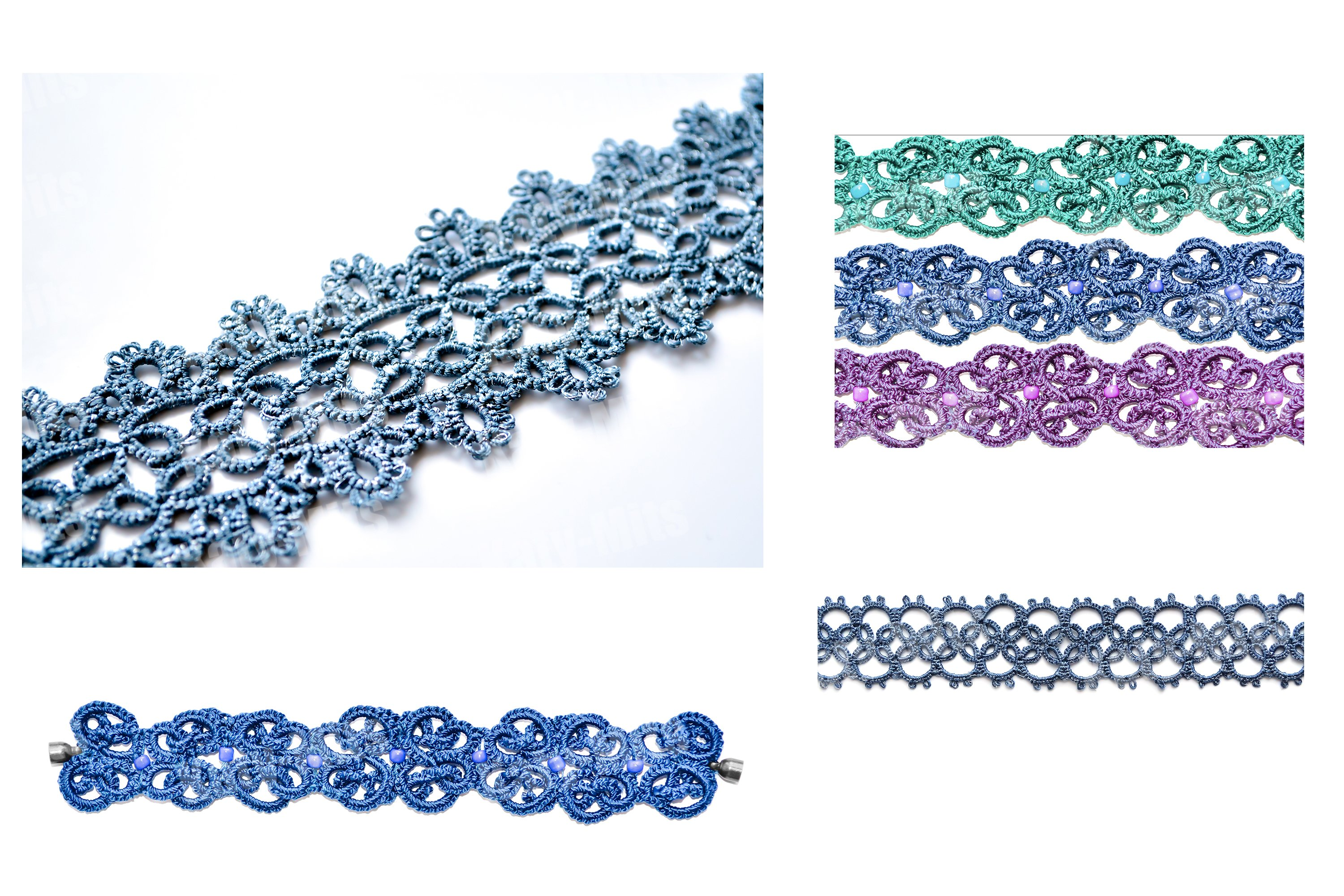 Set of 4 photos of wicker bracelets or necklace. Lacy weave. example image 1