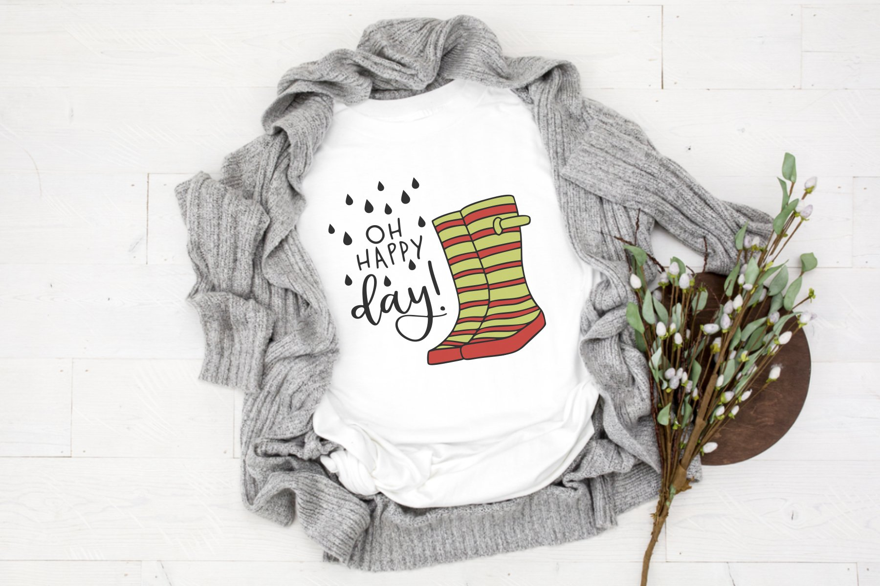 Rain Boots SVG Cut Files | Oh Happy Day SVG example image 2