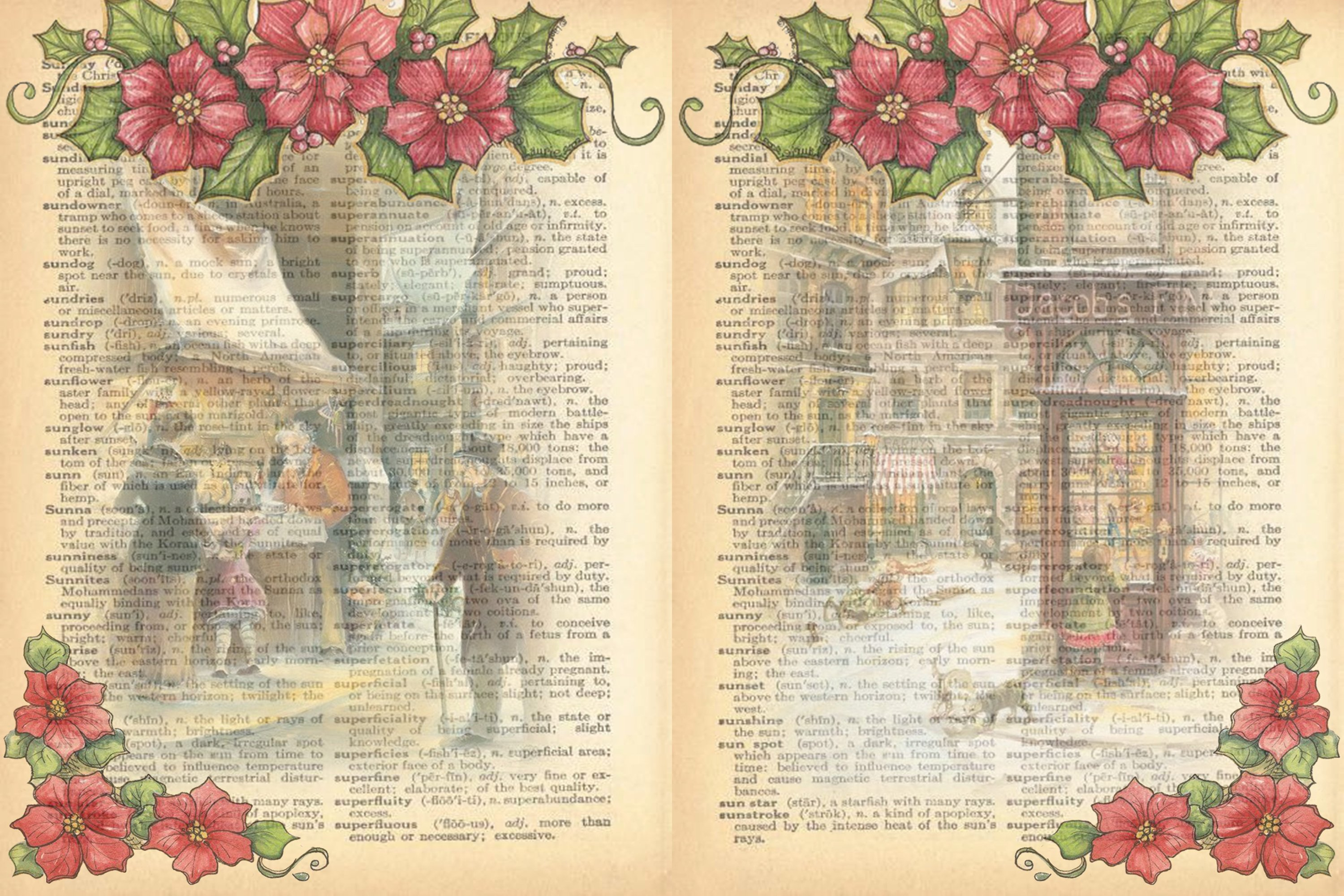 Victorian Christmas Backgrounds and Clipart JPEG PNG PDF example image 4
