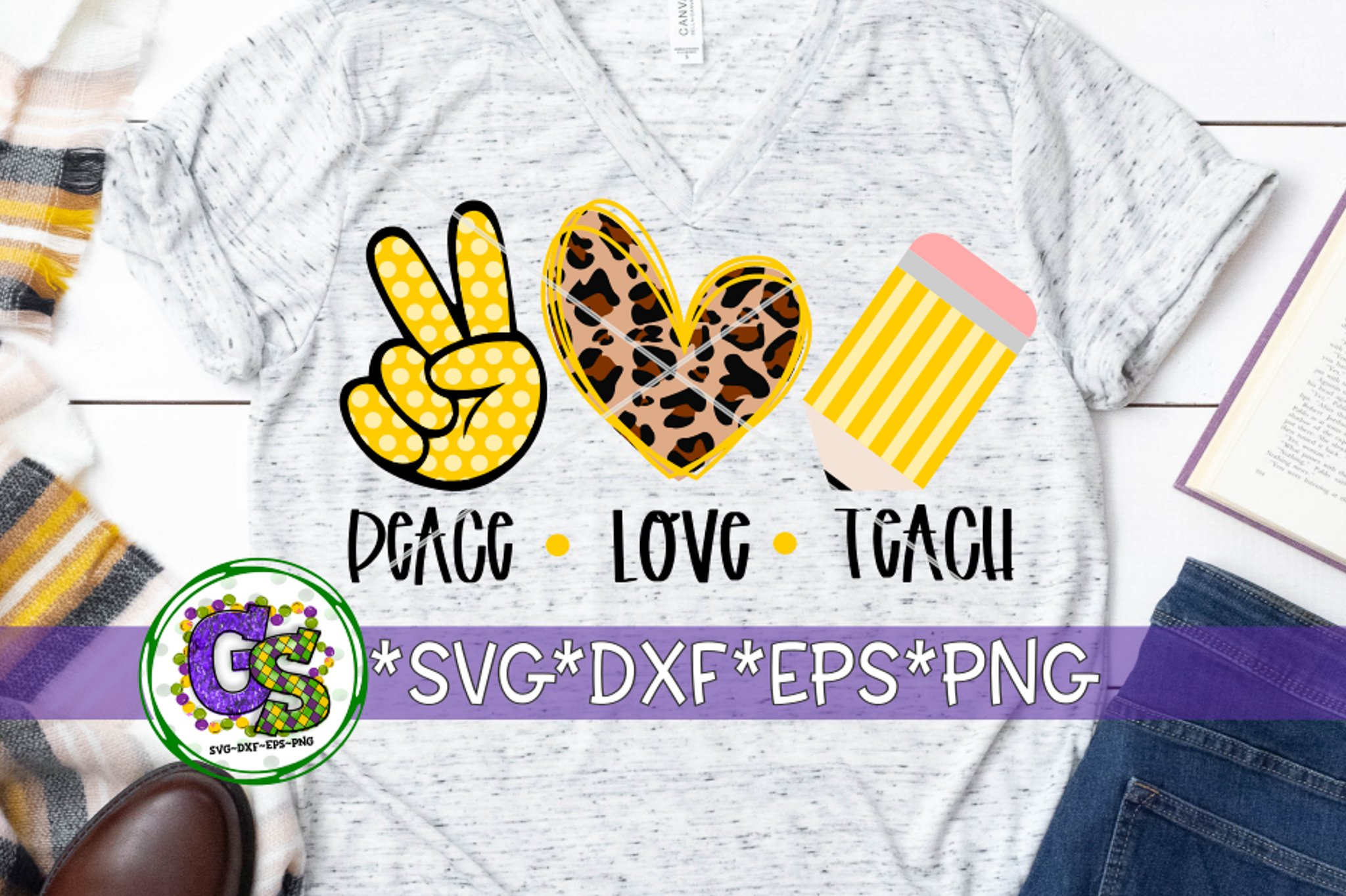 Download Peace Love Teach SVG DXF EPS PNG | Teacher Appreciation ...