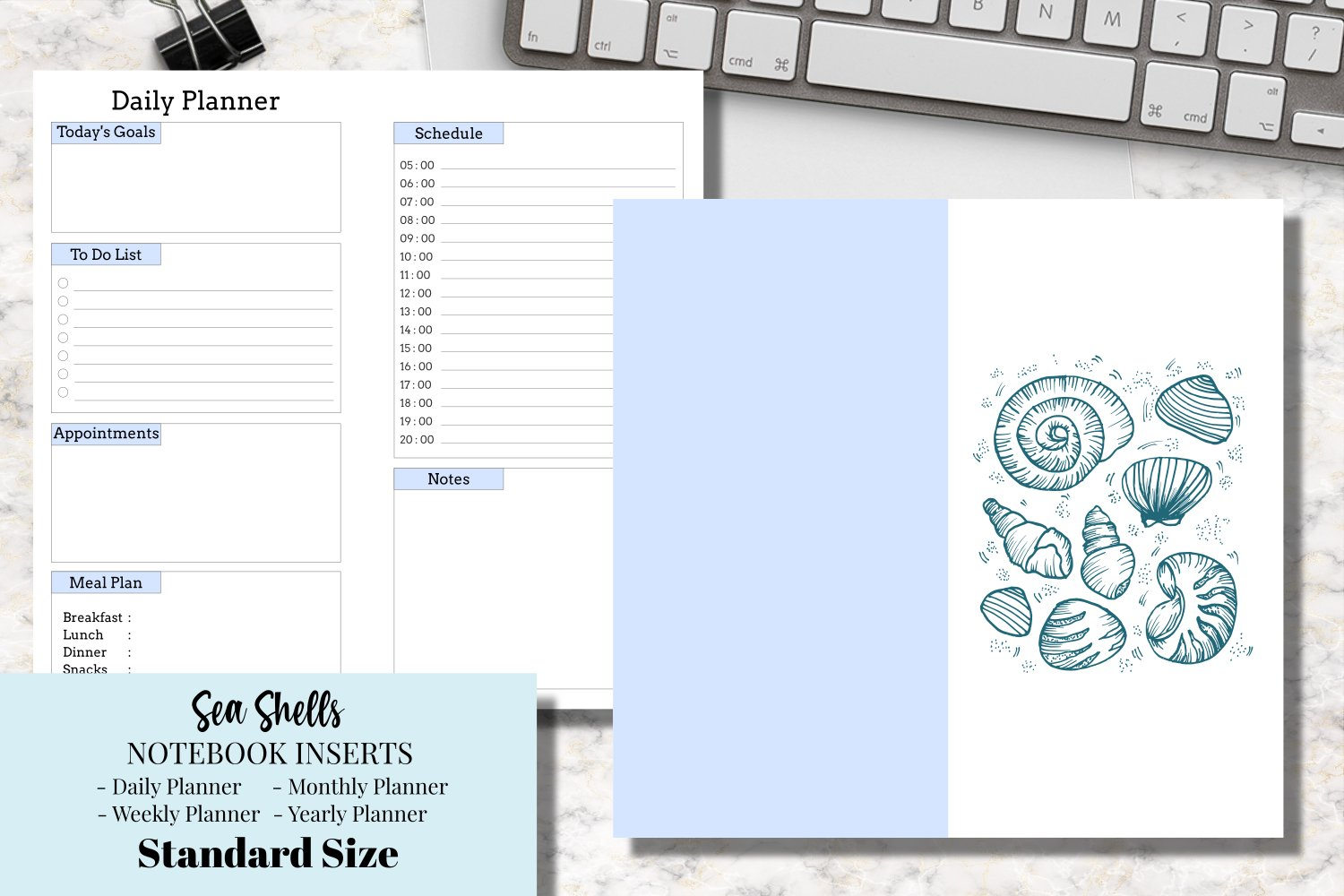 Sea Shells Standard Size Notebook Inserts example image 1